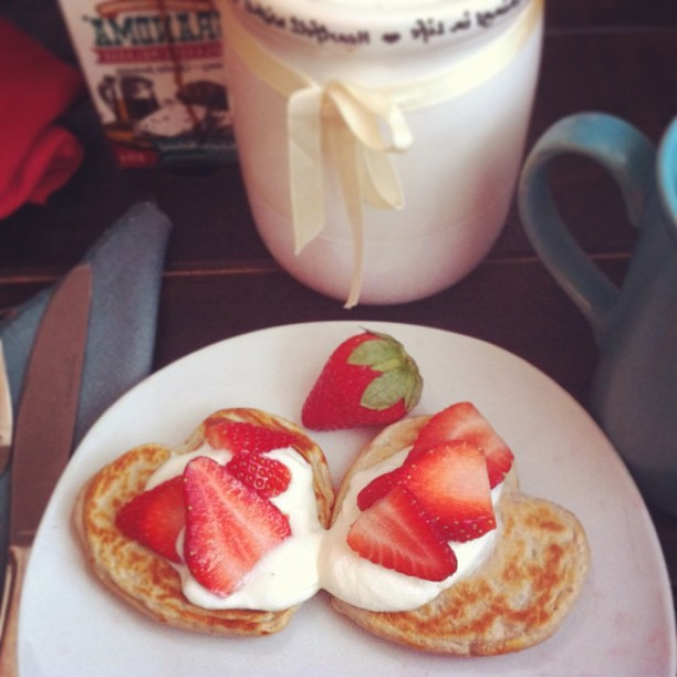 Pancakes made from protein shake powder.